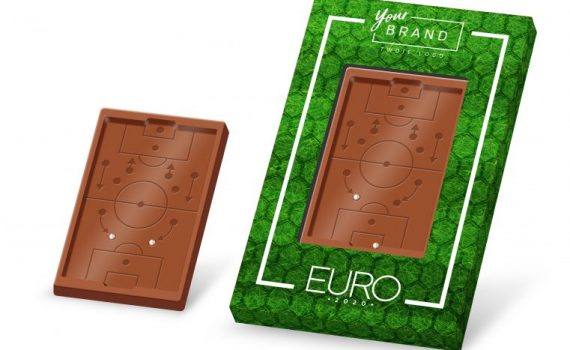 Promotional chocolate soccer field