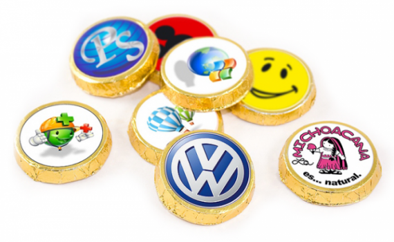 Chocolate Medals 30 mm with printed stickers